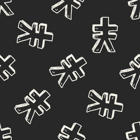 renminbi: doodle Renminbi seamless pattern background Illustration