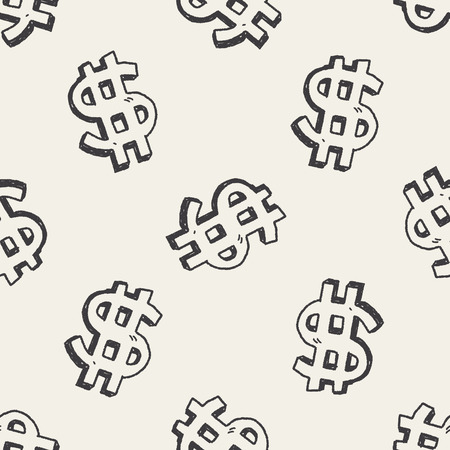 doodle dollar seamless pattern background Vector