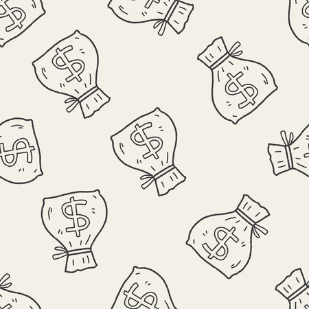 doodle money bag seamless pattern background Vector