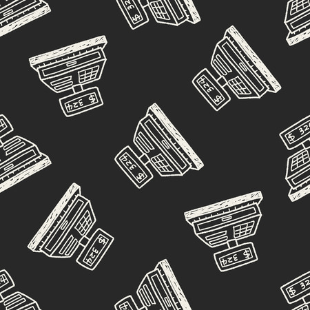 checkout: Checkout Machine Doodle seamless pattern background