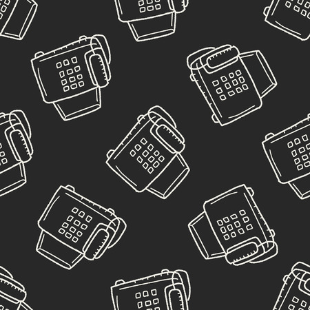 fax: fax doodle seamless pattern background Illustration