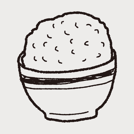 cooked rice: rice doodle Illustration