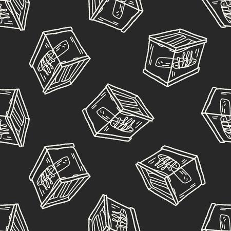 aquarium doodle seamless pattern background Vector