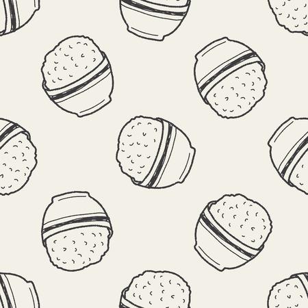 reis gekocht: Reis doodle nahtlose Muster Hintergrund