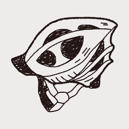 bicycle helmet doodle Vector