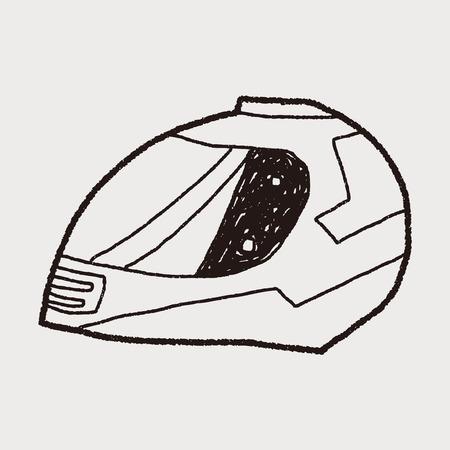 motorcycle helmet doodle Vector