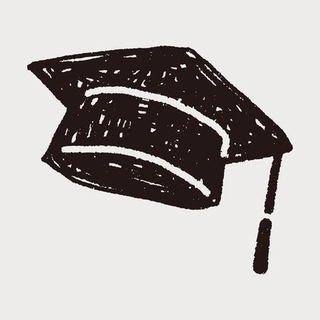 Doodle sombrero de la graduación