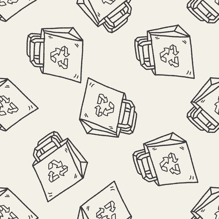 or recycled: Environmental protection concept; Recycled shopping bag; doodle seamless pattern background Illustration
