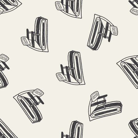 treadmill doodle seamless pattern background Vector