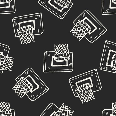 basket ball: basketball doodle seamless pattern background Illustration