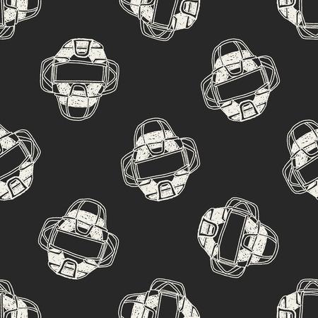 baseball catcher: baseball catcher doodle seamless pattern background