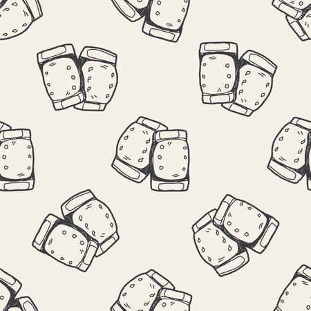knee pads: knee pads doodle seamless pattern background