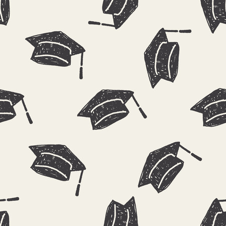 graduation hat doodle seamless pattern background Vettoriali