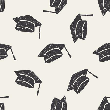 graduation hat doodle seamless pattern background Illustration