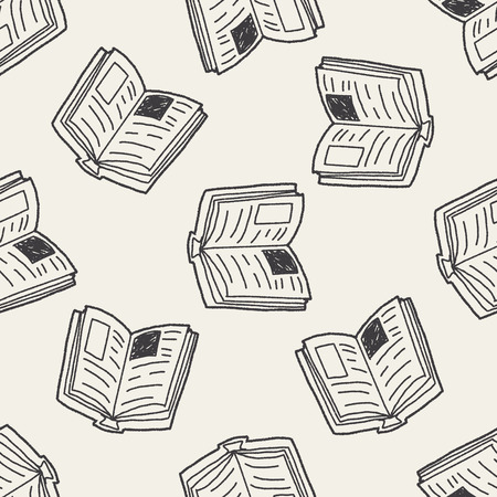 doodle book seamless pattern background Illustration