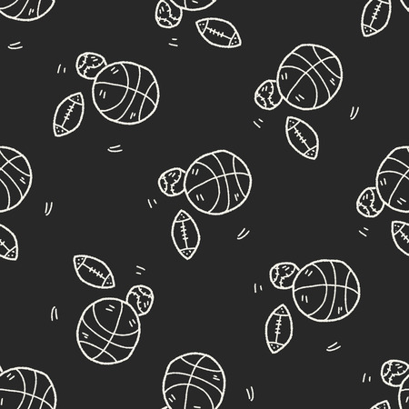 sport ball doodle seamless pattern background Vector