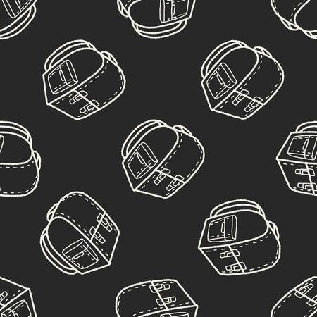 doodle School bag seamless pattern background Vector