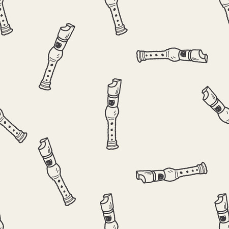recorder: recorder doodle seamless pattern background
