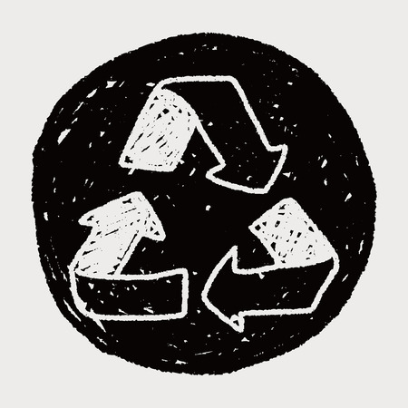 recycling: Environmental protection concept; Doing recycle to protect our environment; recycled garbage; doodle