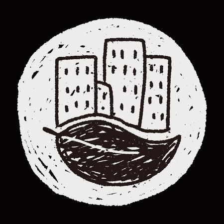 kassen: Bescherming van het milieu-concept; kassen; groene huis; doodle Stock Illustratie
