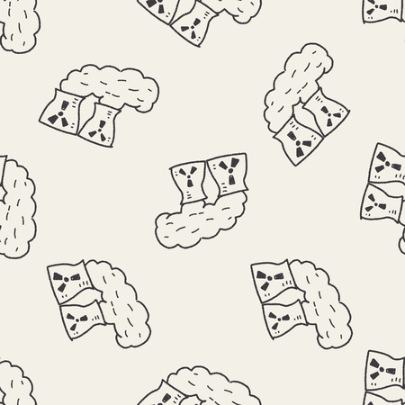 pollute: Environmental protection concept; The factory do well on emission to not pollute the air and environment; doodle seamless pattern background Illustration