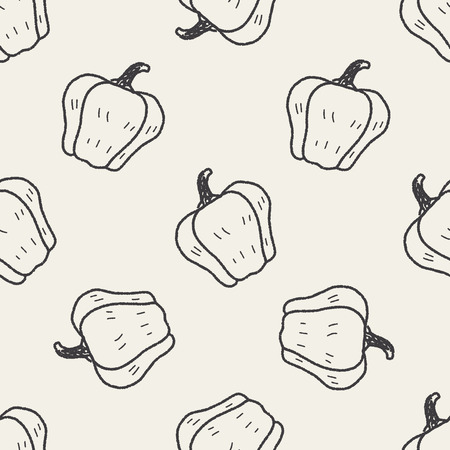 bell pepper: Bell pepper doodle seamless pattern background Illustration