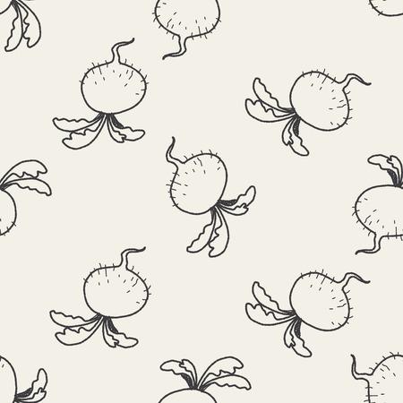 radish: Radish doodle seamless pattern background Illustration