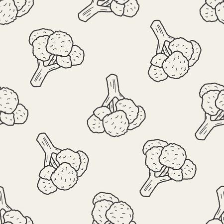 cauliflower: Cauliflower doodle seamless pattern background Illustration