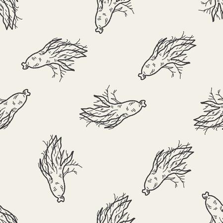 Ginseng doodle naadloze patroon achtergrond Stock Illustratie