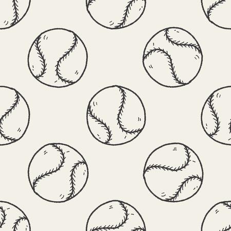 fast pitch: Doodle Baseball seamless pattern background