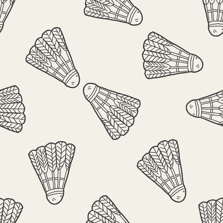 badminton sport symbol: doodle badminton seamless pattern background