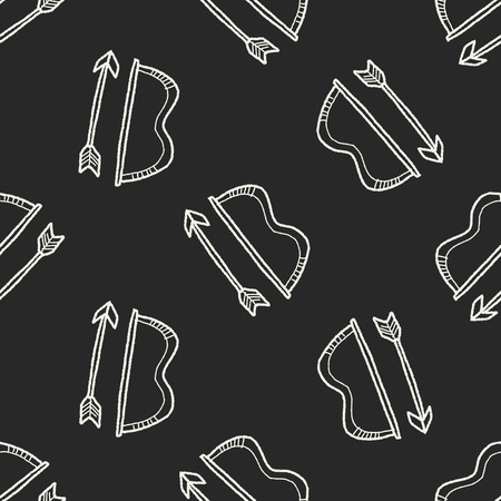 indian weapons: bow and arrow doodle seamless pattern background