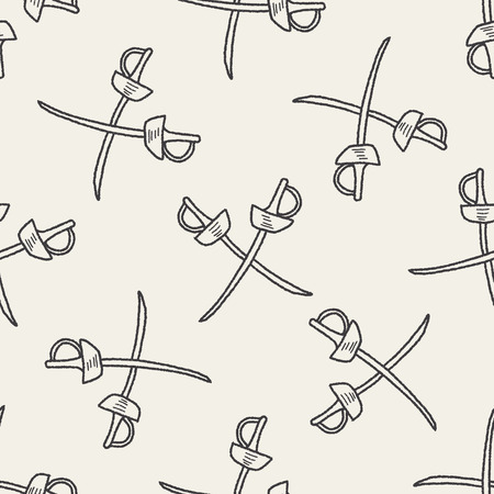 fencing doodle seamless pattern background Vector