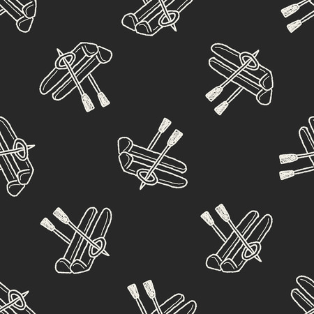 ski doodle seamless pattern background Vector