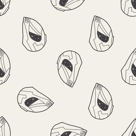 motorcycle helmet doodle seamless pattern background Vector