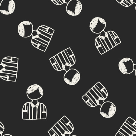 referee doodle seamless pattern background Vector