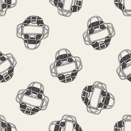 major league: baseball catcher doodle seamless pattern background
