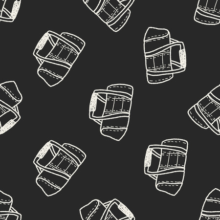 duffel: sport bag doodle seamless pattern background