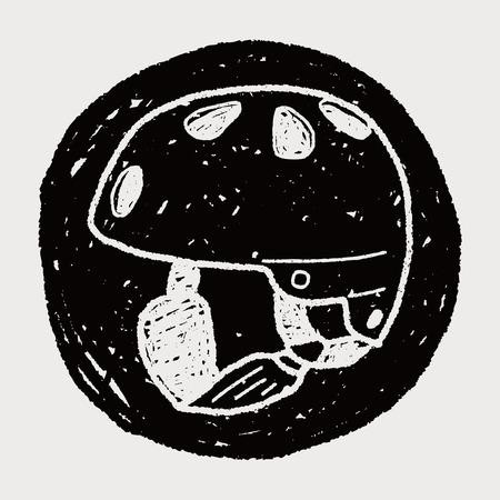 skate helmet doodle Vector