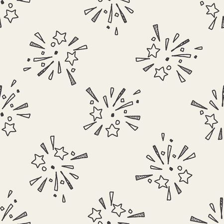 fun festival: doodle firework seamless pattern background
