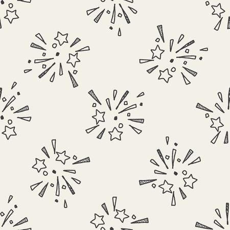 doodle vuurwerk naadloze patroon achtergrond Stock Illustratie