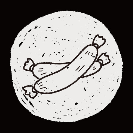 bacon art: ham doodle Illustration