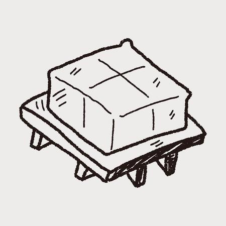 tofu doodle  イラスト・ベクター素材