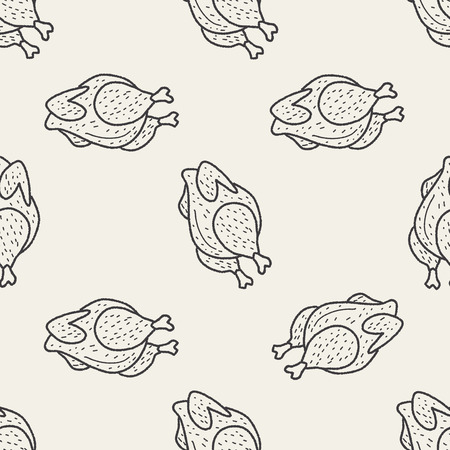 Roast chicken doodle drawing seamless pattern background