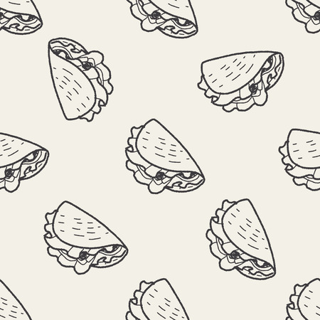 taco: burrito doodle seamless pattern background Illustration
