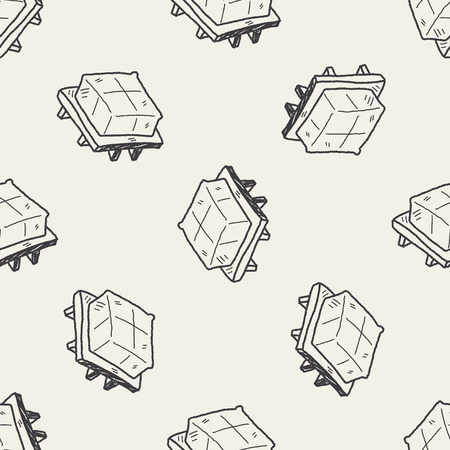 bean curd: tofu doodle seamless pattern background