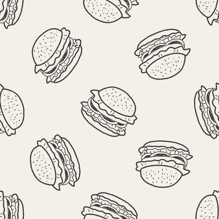 burger background: Doodle Hamburger seamless pattern background Illustration