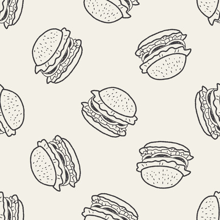 hamburguesa: Doodle Hamburguesa de fondo sin fisuras patrón Vectores