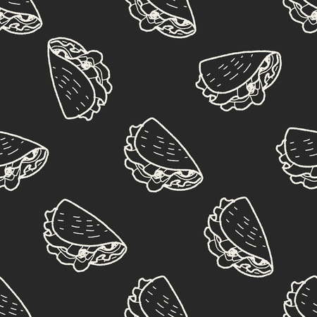 burrito: burrito doodle seamless pattern background Illustration