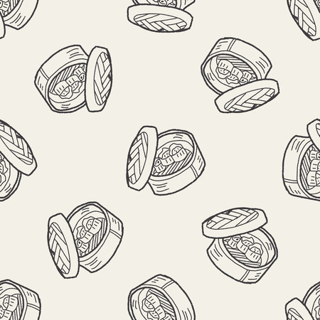 russian cuisine: dumpling doodle seamless pattern background